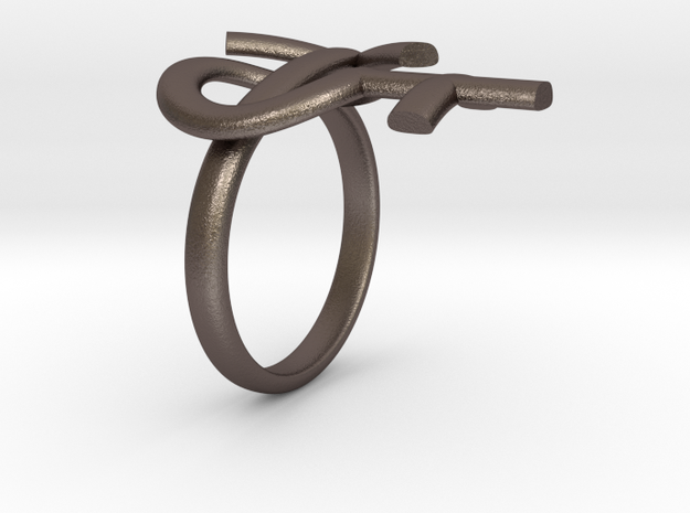 Male Female Ring in Polished Bronzed Silver Steel
