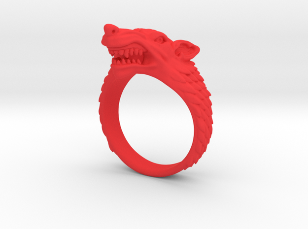 Size 9 Direwolf Ring 3d printed