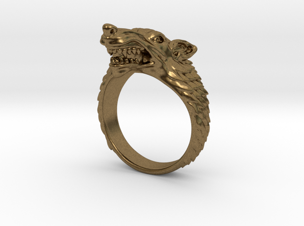Size 10 Direwolf Ring 3d printed