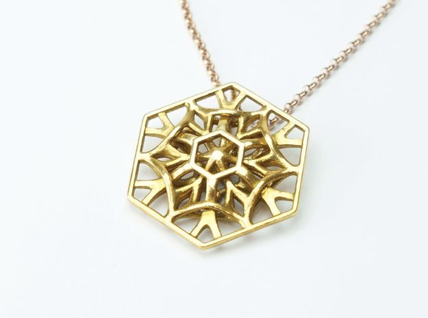 Hexagon Necklace in Polished Brass