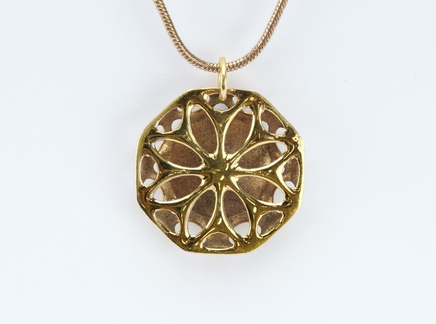 Abstract Flower Pendant in 14k Rose Gold Plated Brass