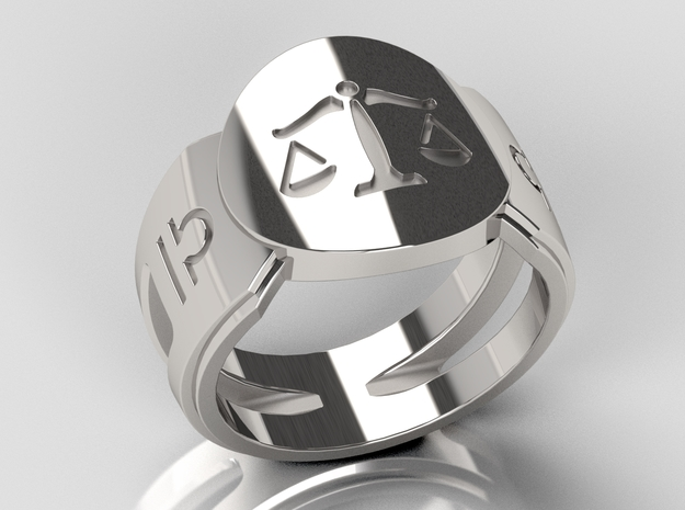 Libra Signet Ring Lite in Polished Silver: 10 / 61.5