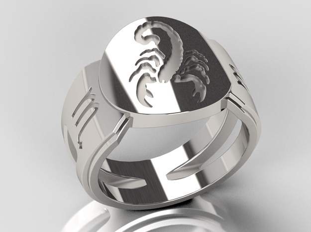 Scorpio Signet Ring Lite in Polished Silver: 10 / 61.5
