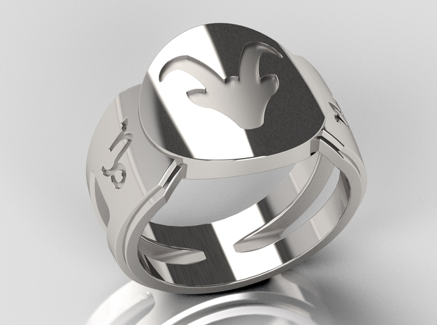 Capricorn Signet Ring Lite in Polished Silver: 10 / 61.5
