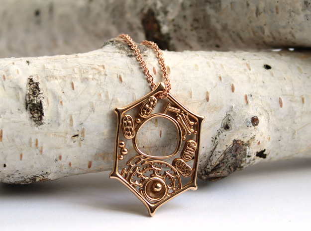 Plant Cell Pendant - Science Jewelry in Polished Bronze