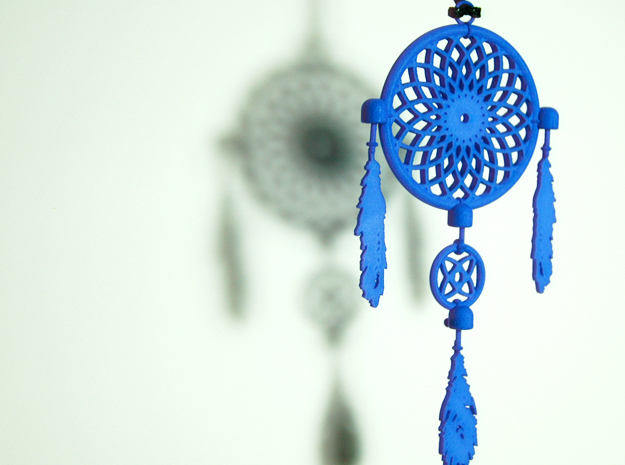 Dream Catcher Necklace Pendant in Blue Strong & Flexible Polished