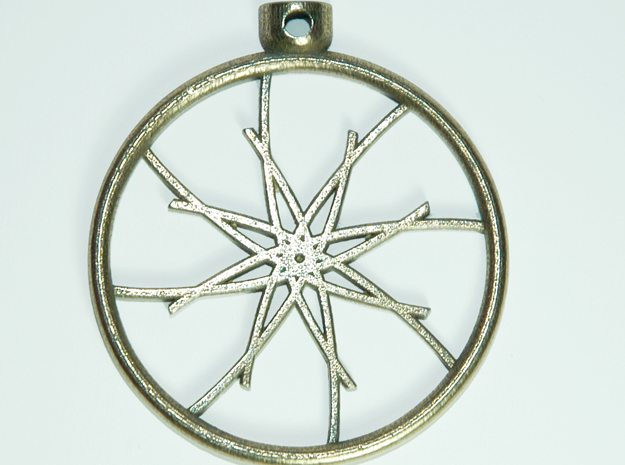 Pocket Star Necklace Pendant in Polished Bronzed Silver Steel