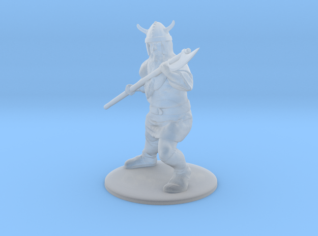 Dwarf with Bardiche Miniature in Smooth Fine Detail Plastic: 1:60.96