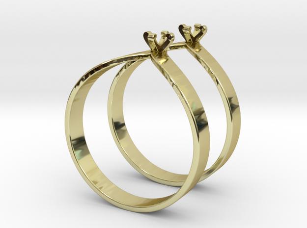 Teardrop Ring Size7 3mm Gem v6 x2 in 18k Gold