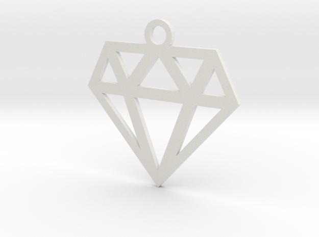 Diamond Lines Necklace Pendant in White Natural Versatile Plastic