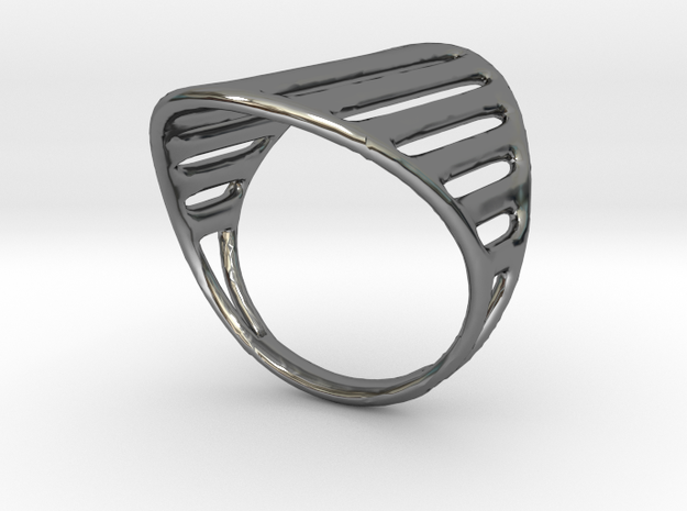 Grid Ring in Fine Detail Polished Silver