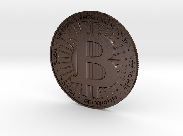BITCOIN in Polished Bronze Steel: Large