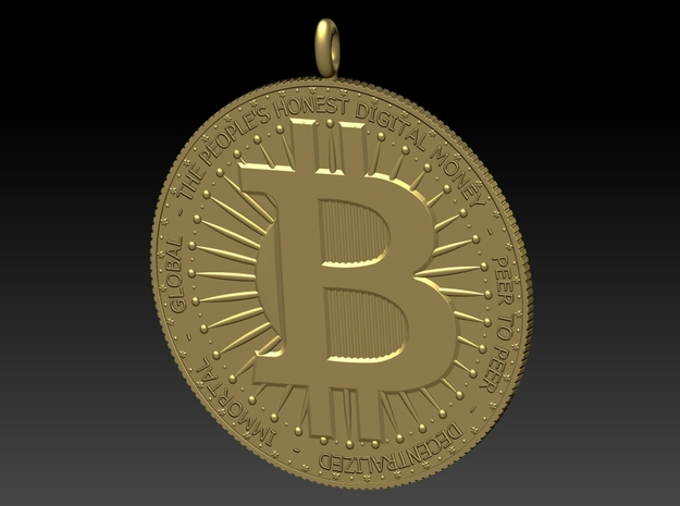 BITCOIN Pendant 1in in 14K Yellow Gold