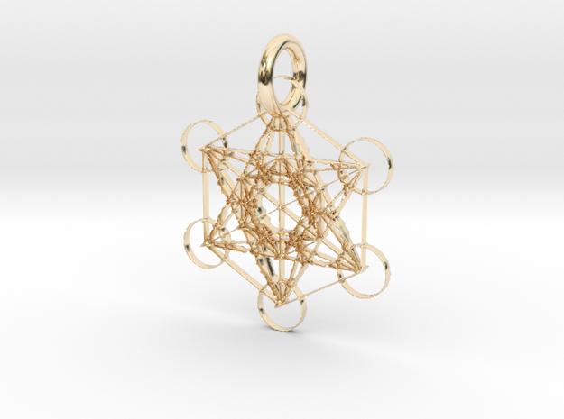 Metatron's Beloved Cube Pendant in 14k Gold Plated Brass: Medium
