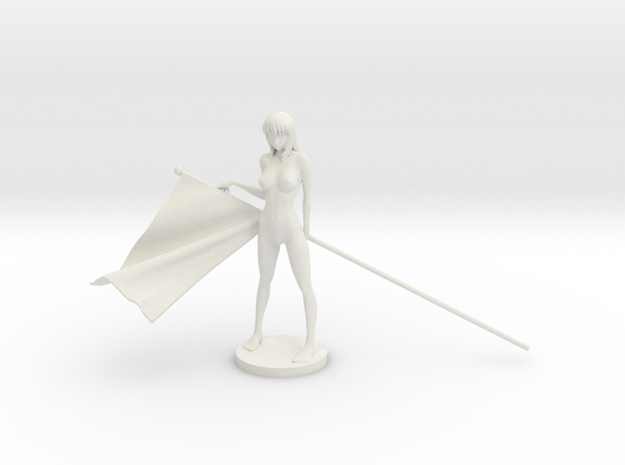 1/20 Race Queen with Flag Pose #5 in White Natural Versatile Plastic