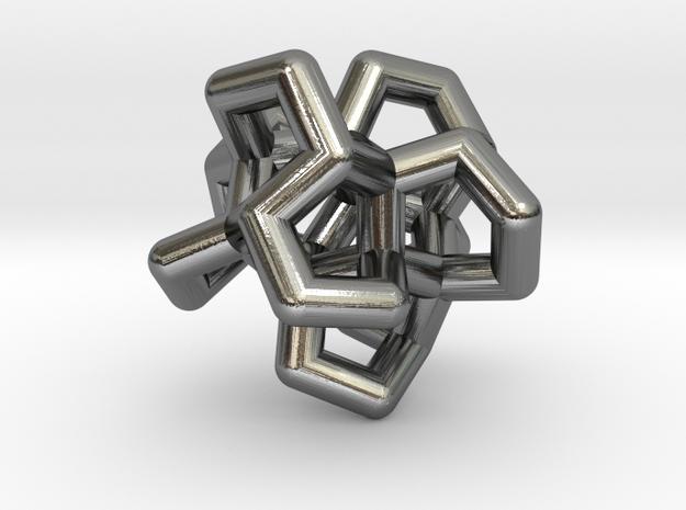 Flower Of Twist Pendant in Polished Silver: Medium