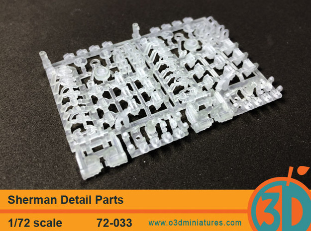 Sherman Tank Detail Set 1/72 scale in Smooth Fine Detail Plastic