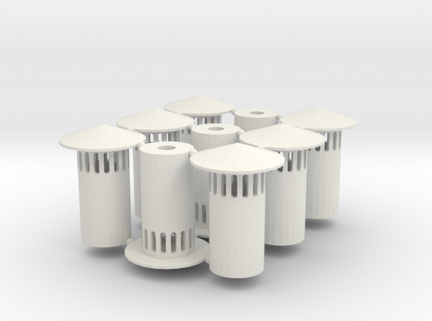 HO Vent Stack (9) (1:87) in White Natural Versatile Plastic