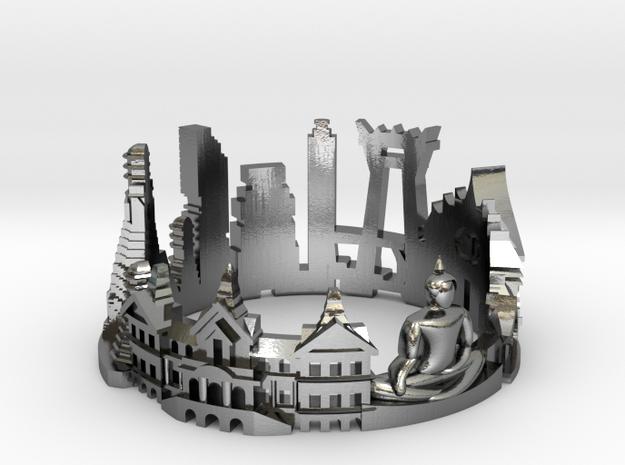 Bangkok - Skyline Cityscape Ring in Polished Silver: 6 / 51.5