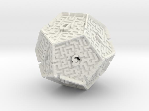 12 Sided Maze Die V2 in White Natural Versatile Plastic