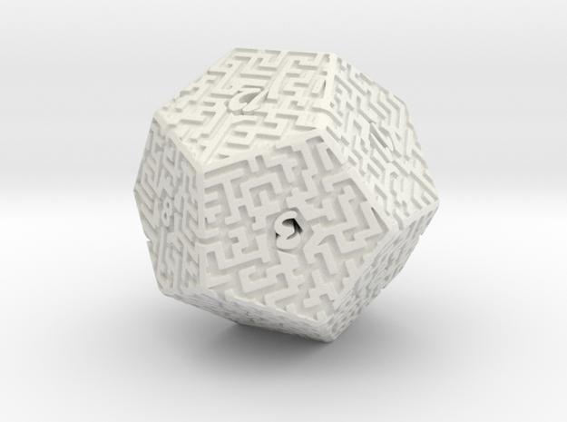 12 Sided Maze Die in White Natural Versatile Plastic