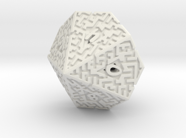 10 Sided Maze Die in White Natural Versatile Plastic