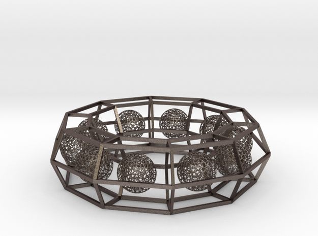 cage ring frame with voronoi ball size 10 (1) in Polished Bronzed-Silver Steel