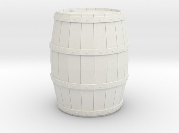 Miniature Barrel 2cm in White Natural Versatile Plastic