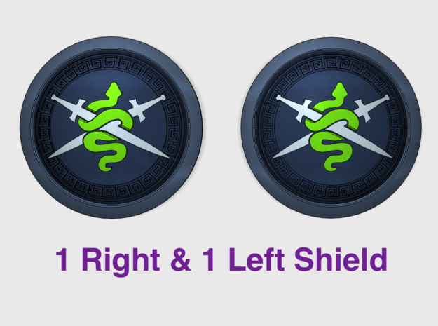 Shadow Vipers - Round Power Shields (L&R) in Smooth Fine Detail Plastic: Small