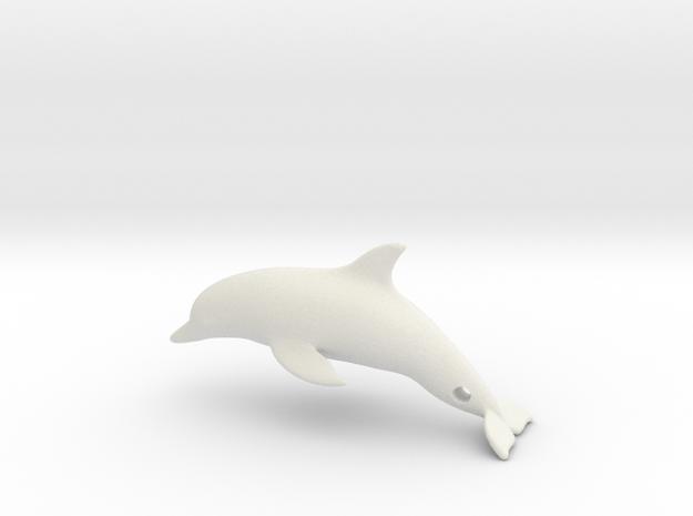 Dolphin Pendant in White Natural Versatile Plastic