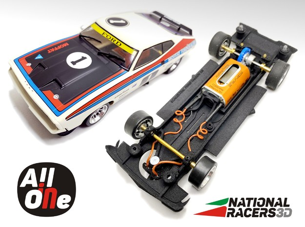 Chassis for SCALEXTRIC FORD FALCON XB GT (AiO-In) in Black PA12