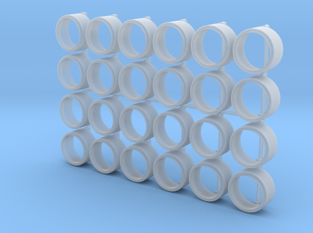 1/64 scale Tire for 8mm Wheels - 6 sets in Smooth Fine Detail Plastic