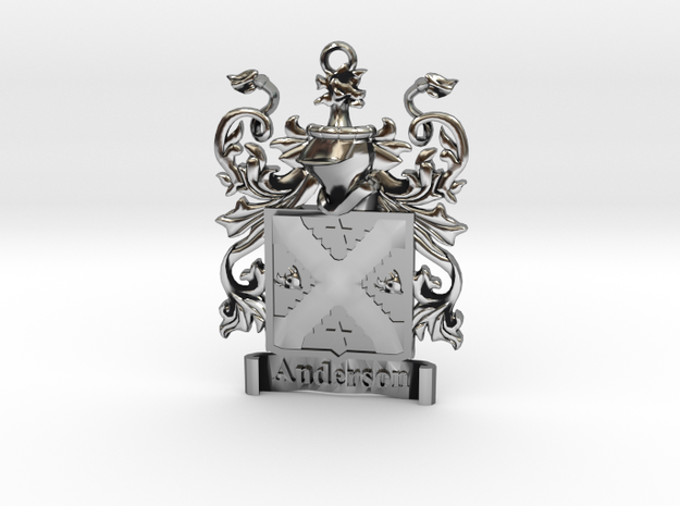 Anderson Family Crest Pendant Coat of Arms Herald in Antique Silver