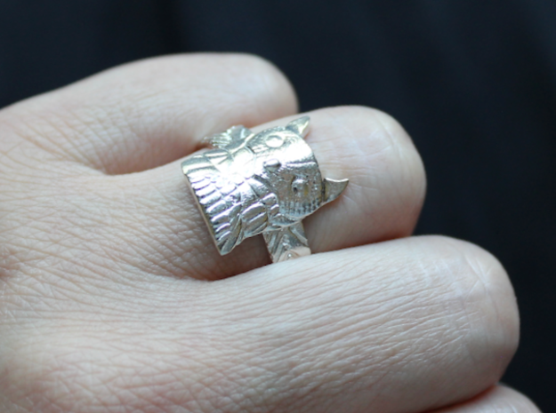 Big Owl Ring with Wings Band in Natural Silver