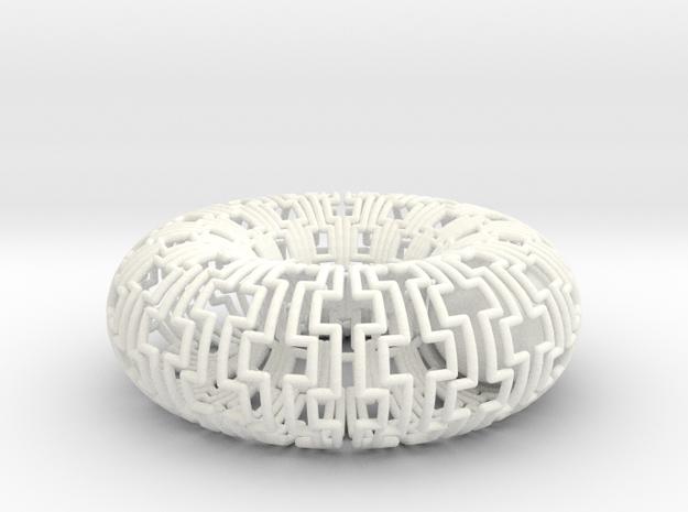 Ball in Torus Fidget Toy in White Processed Versatile Plastic