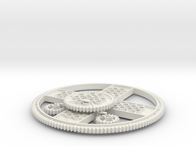Antikythera Mechanism 127, 47 and 19 tooth gears in White Natural Versatile Plastic