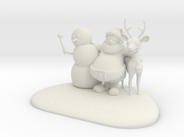Three christmas-friends in White Natural Versatile Plastic
