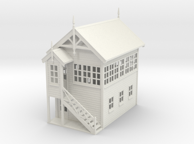 VR Signal Box #2 [Left Stairs] 1:87 Scale in White Natural Versatile Plastic