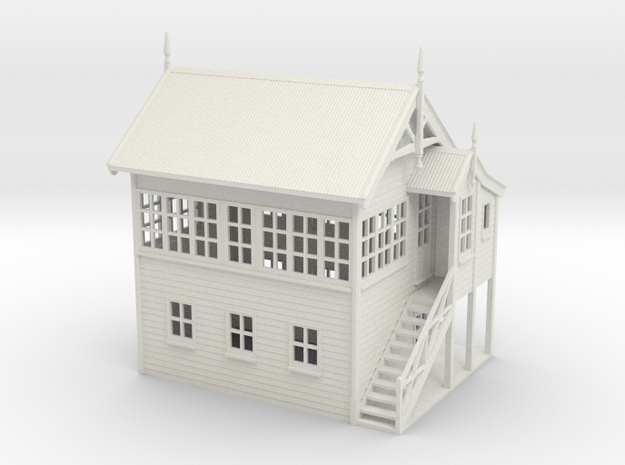 VR Signal Box #2 [Right Stairs &Toilet] 1:87 Scale in White Natural Versatile Plastic