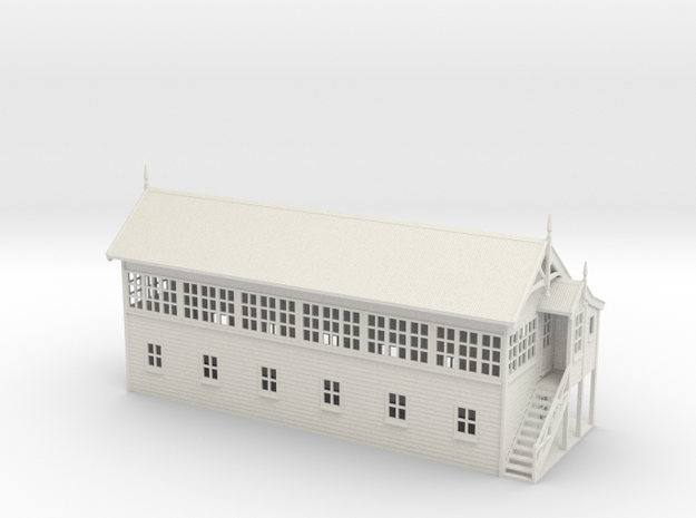 VR Signal Box #4 [Right Stairs &Toilet] 1:87 Scale in White Natural Versatile Plastic