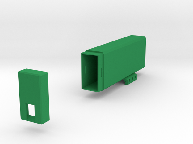 Plain Battery Box (Vertical Mount) in Green Processed Versatile Plastic