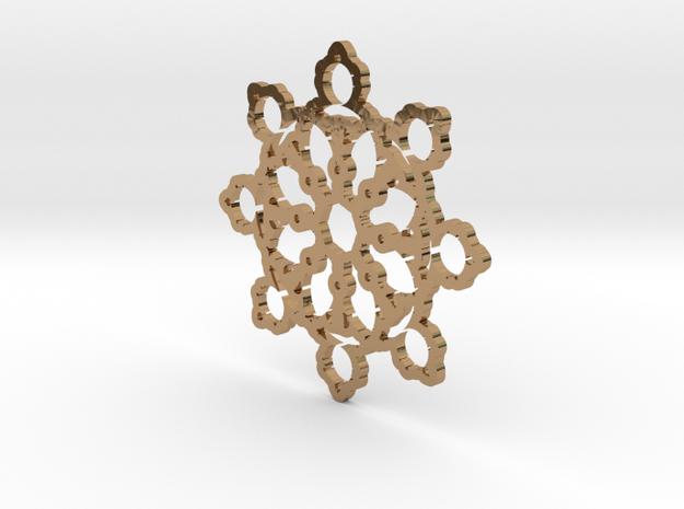 Mandelbrot Web Pendant 2 in Polished Brass
