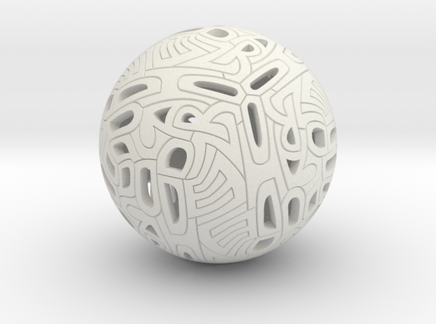 Dodecahedron Autologlyph in White Natural Versatile Plastic