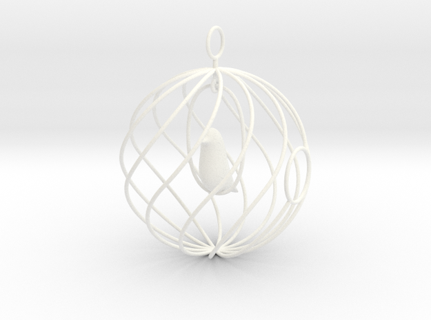 merry bird - christmas ornament 3d printed