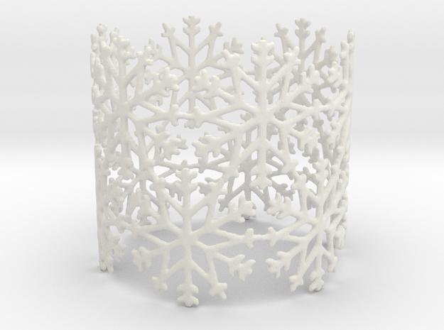 Snowflake Tea Light Ring in White Natural Versatile Plastic