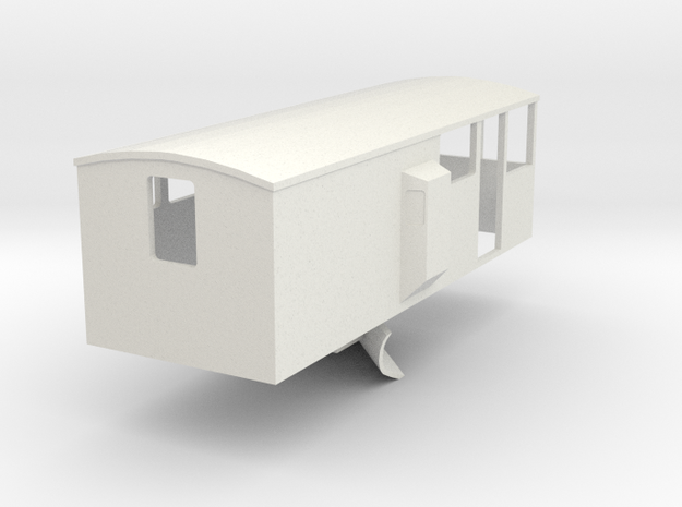 CIE Ballast Plow Brake Van OO Scale in White Natural Versatile Plastic