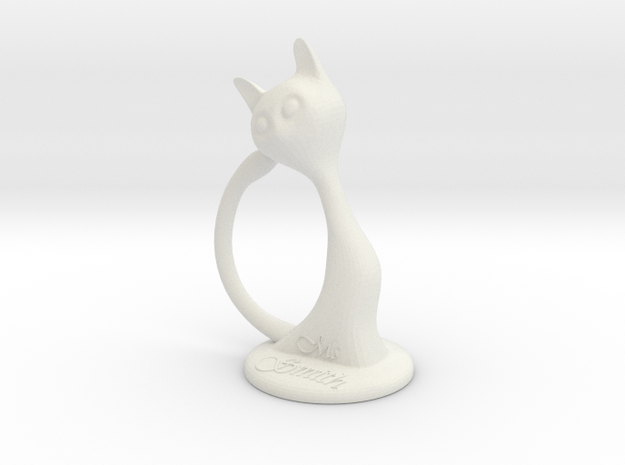 Napkin ring - Female cat in White Strong & Flexible