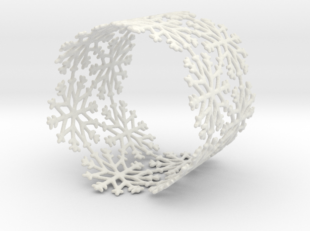 Snowflake Tea Light Ring (bigger) in White Natural Versatile Plastic