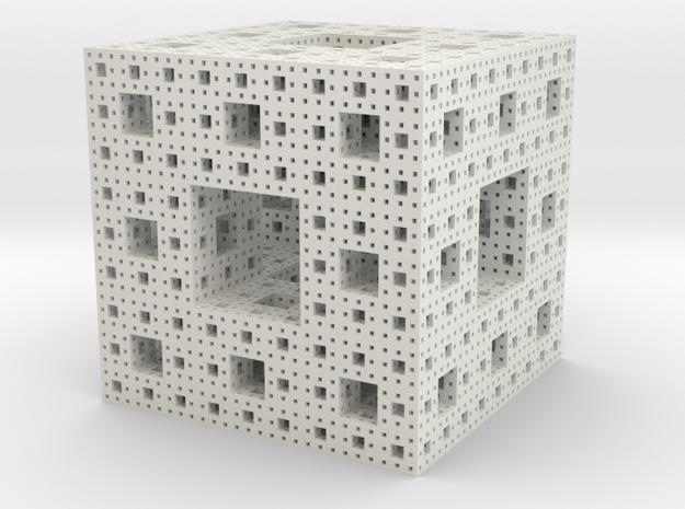 Menger sponge - 4 steps in White Strong & Flexible