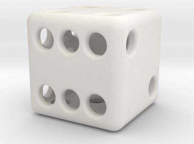 Balanced Hollow Dice (D6) (1.5cm) (Method 1) in White Natural Versatile Plastic